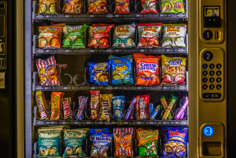 vending machine with chips and sweets