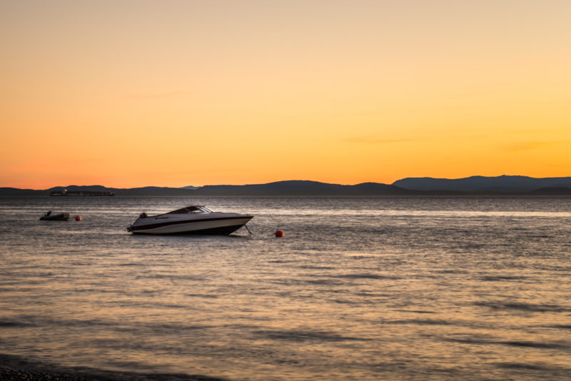 Speedboat at Sunset in Tsawwassen Beach
