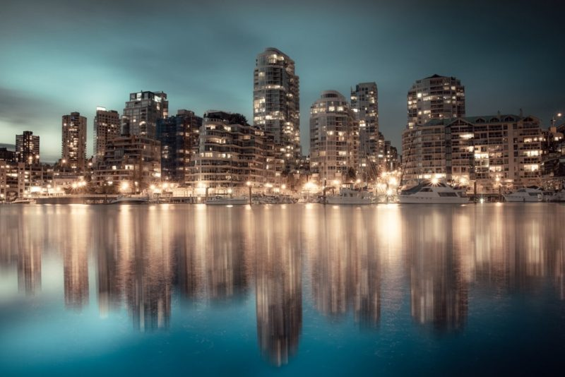 Vancouver Downtown Cityscape at Night, Canada