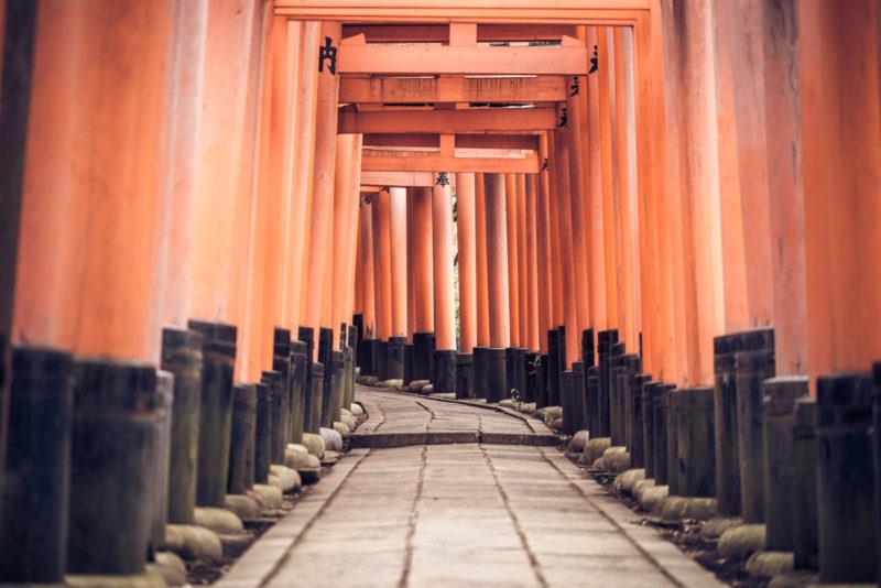 Torii Gates in Fushimi Inari-Taisha Shrine