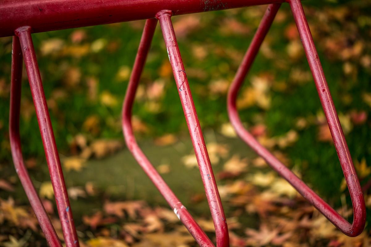bike locker in the fall
