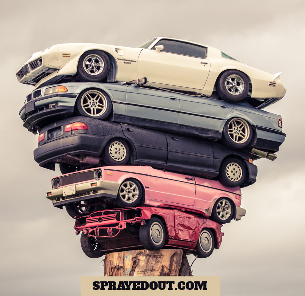 """Totem Pole"" of Stacked Cars, Vancouver, BC"
