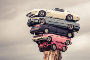 """""""Totem Pole"""" of Stacked Cars in Vancouver, BC."""
