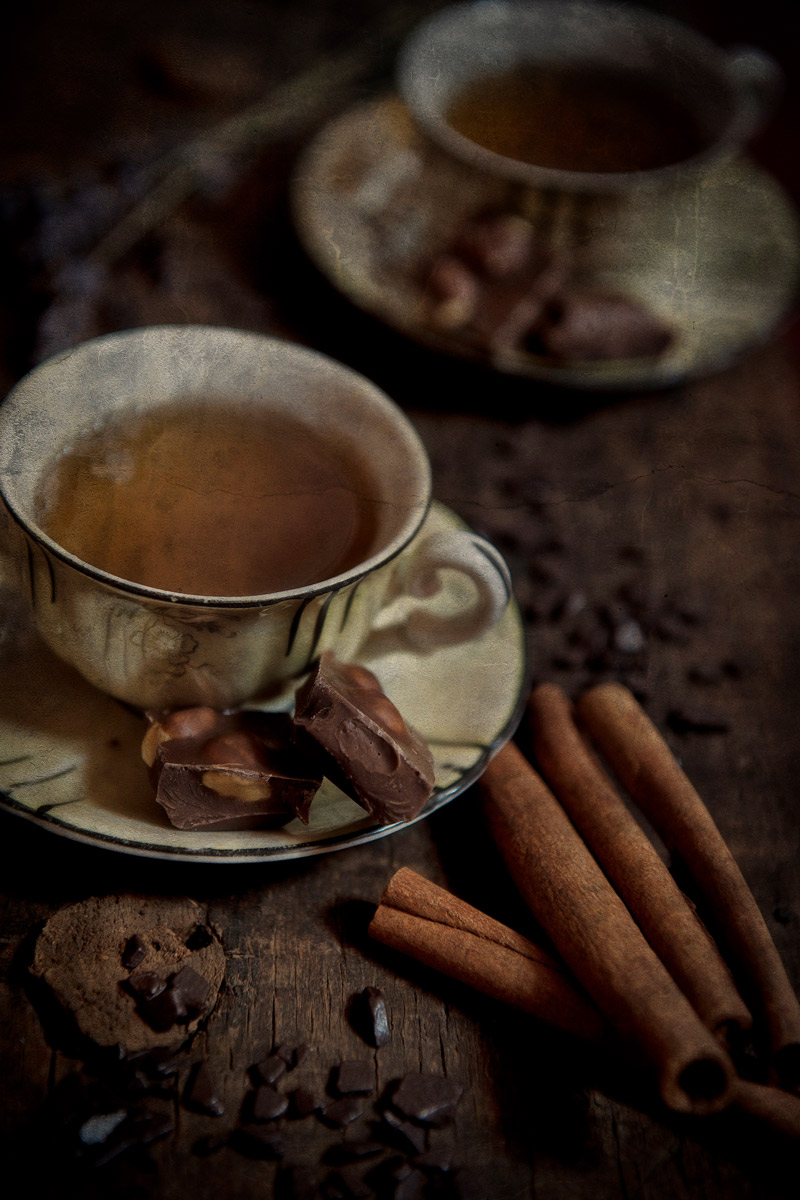 Coffee, Chocolate and cinnamon sticks