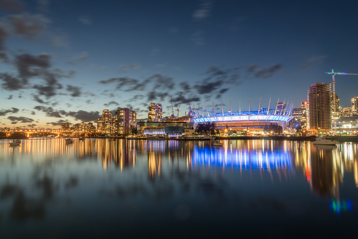 Cityscape: Cambie Bridge & Whitecaps Stadium, City at Night