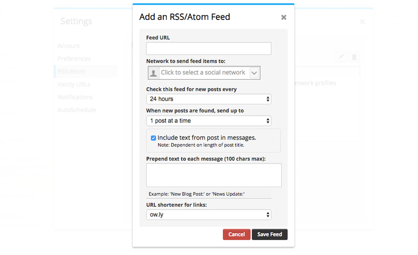 Hootsuite : Add RSS Feed