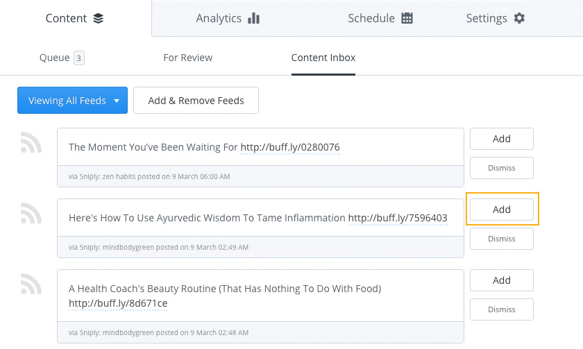 Integrated RSS Feeds in Buffer