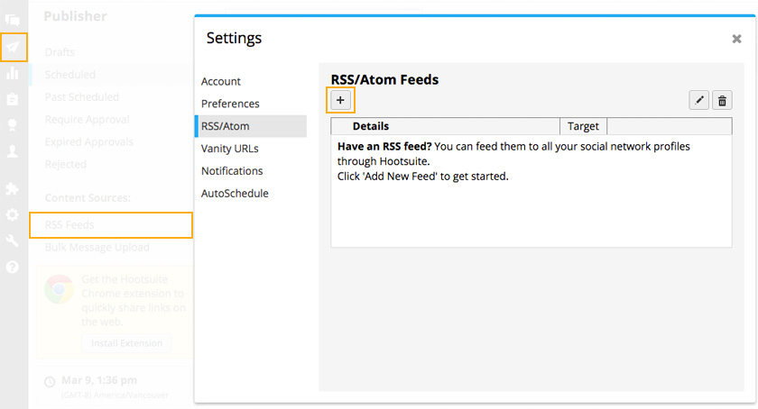 Hootsuite RSS Feeds Integration