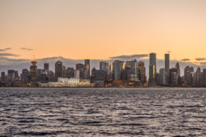 Vancouver Downtown at Sunset from North Vancouver