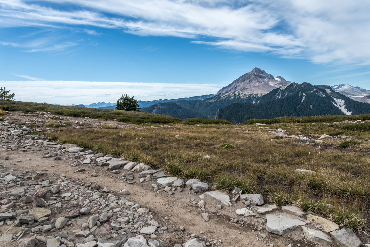 Mountain peak, road and beautiful landscape in Garibaldi Provincial Park.