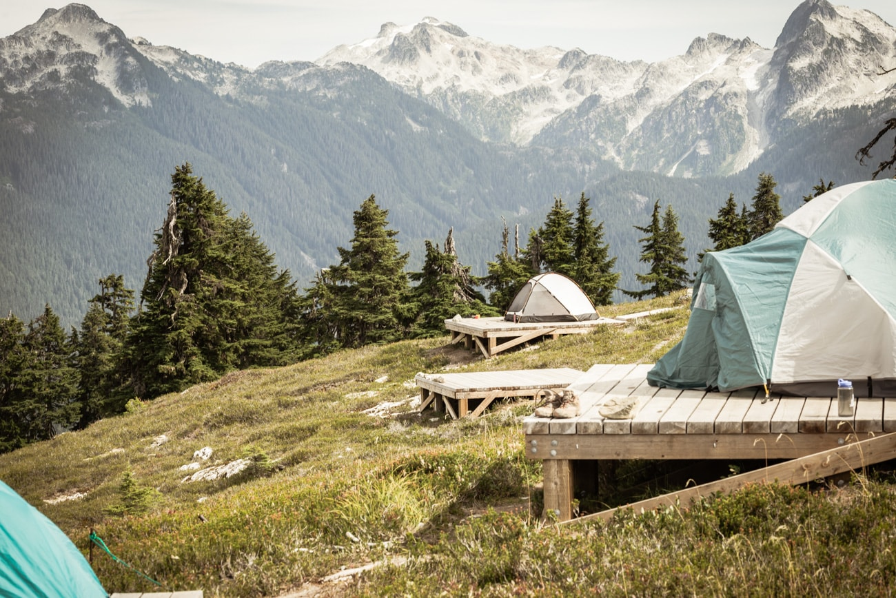 Elfin Lakes Campground in Garibaldi Provincial Park, tents and mountains.