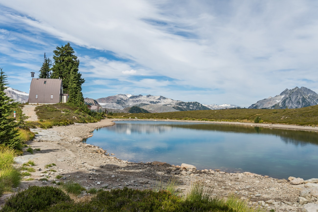 Ranger's House and a beautiful landscape in Garibaldi Provincial Park, BC, Canada.