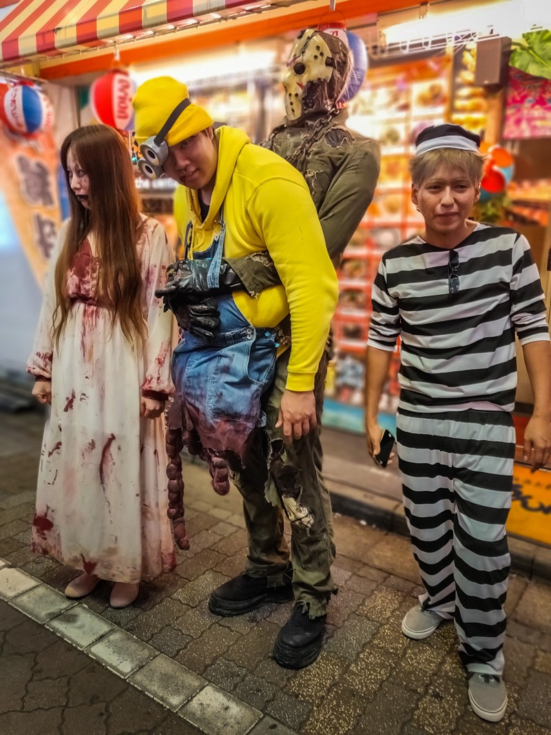 Three different Halloween Costumes in Shibuya Tokyo, Halloween Party.