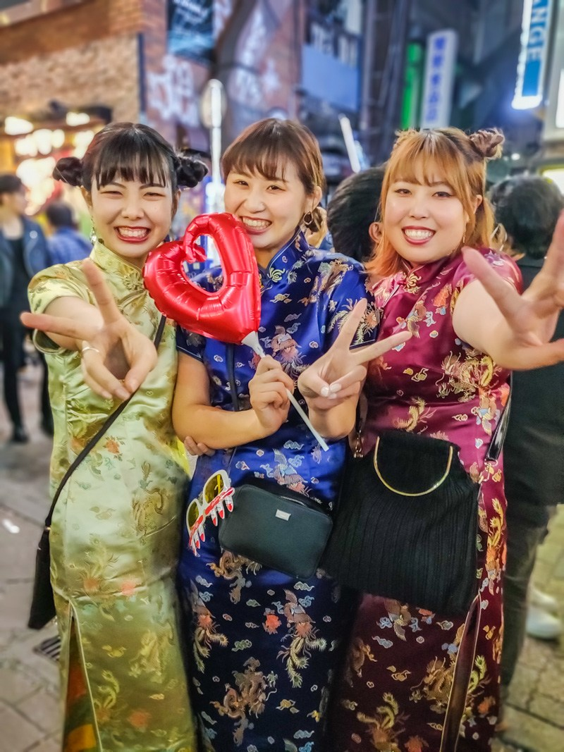 Halloween celebrated by 3 women in Beautiful Japanese Dresses.