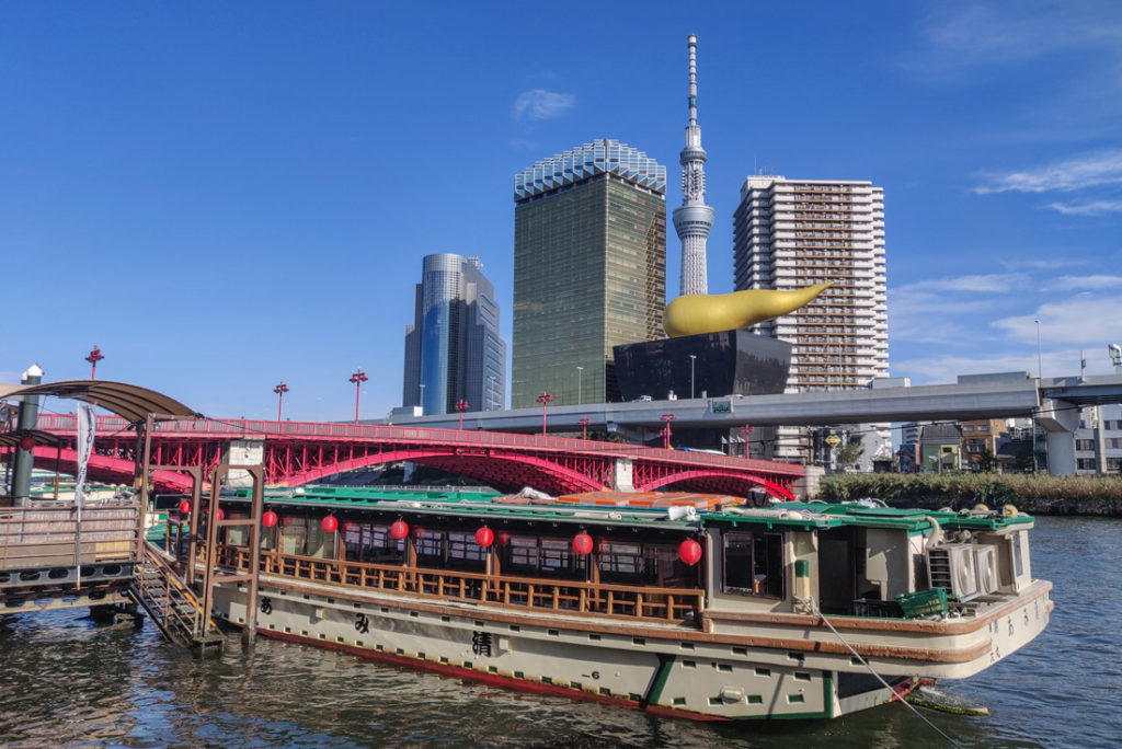 Tokyo Skytree, Asahi Flame & Japanese Boat on Sumida River