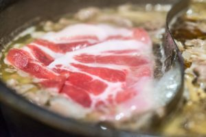 Beaf Meat in Shabu-Shabu Cooking Pot : All You Can Eat in Tokyo, Japan
