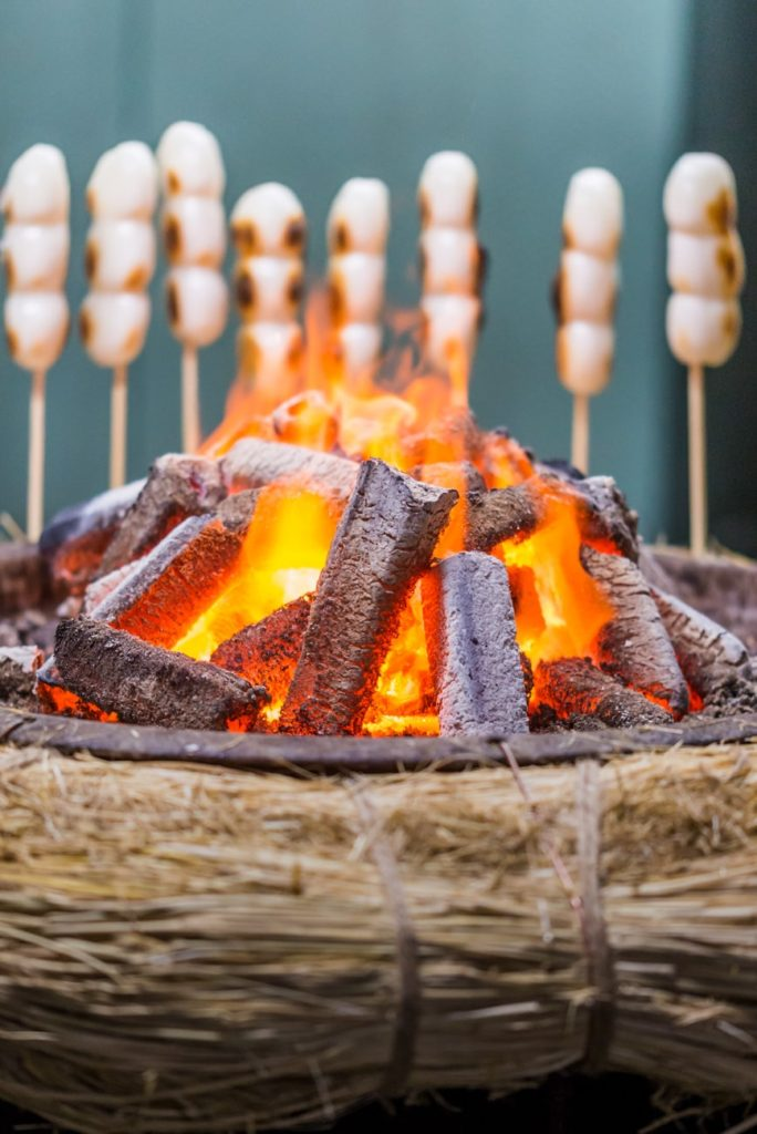 Fireplace and Mitarashi Dango (Sticky Rice Flour Balls). Free image for your blog.