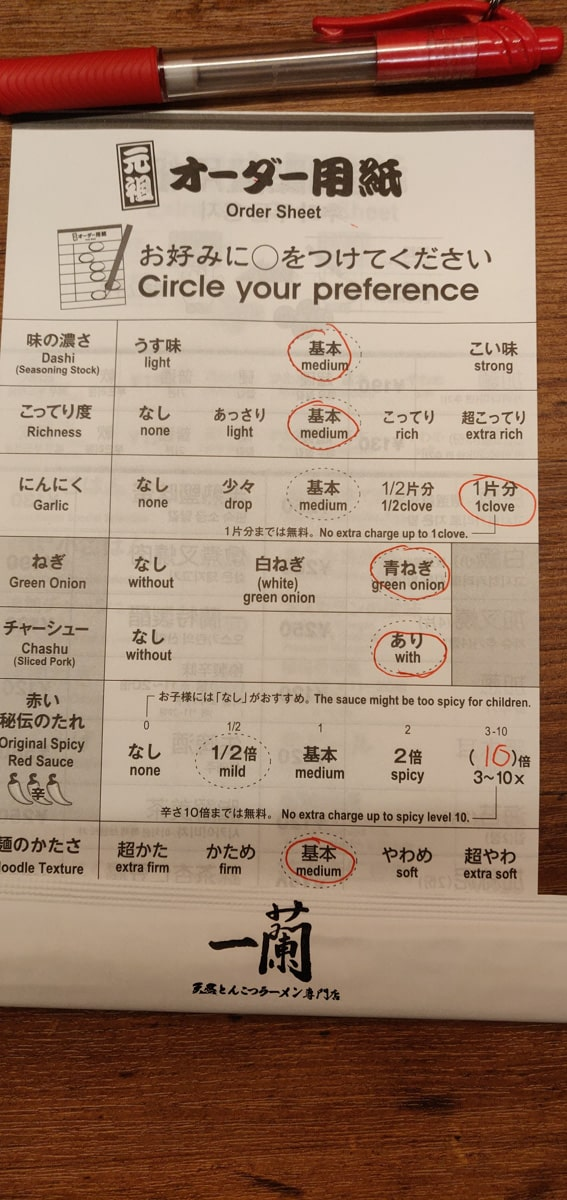 Ichiran Ramen Personalized Dish