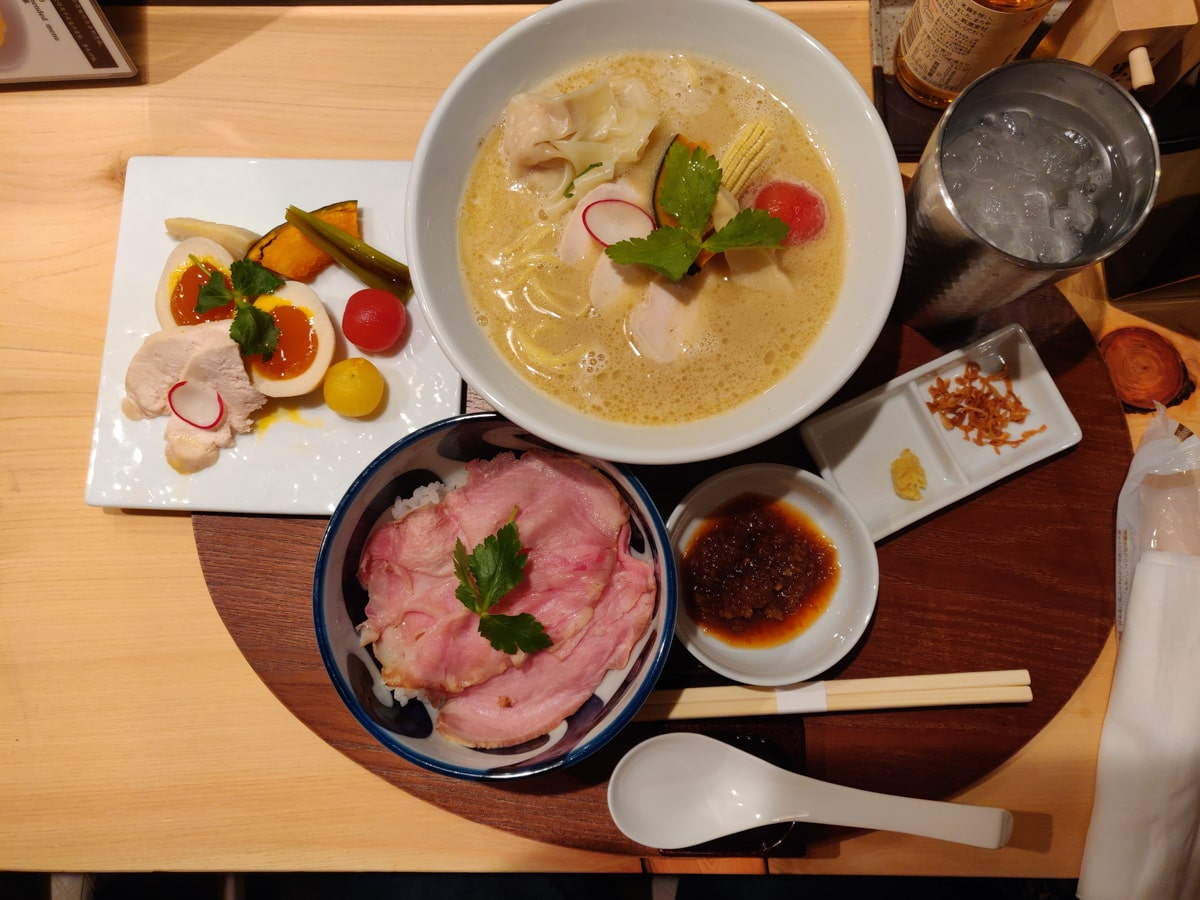 Chicken Rame, Extra Toppings and Side Dish: Kagari Ginza