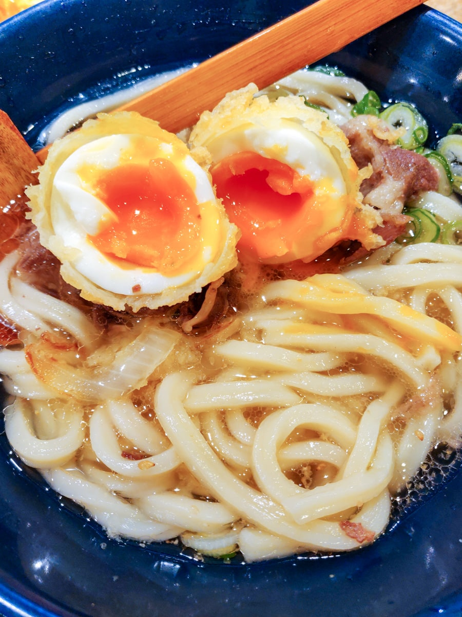 Udon noodles soup with soft-boiled egg
