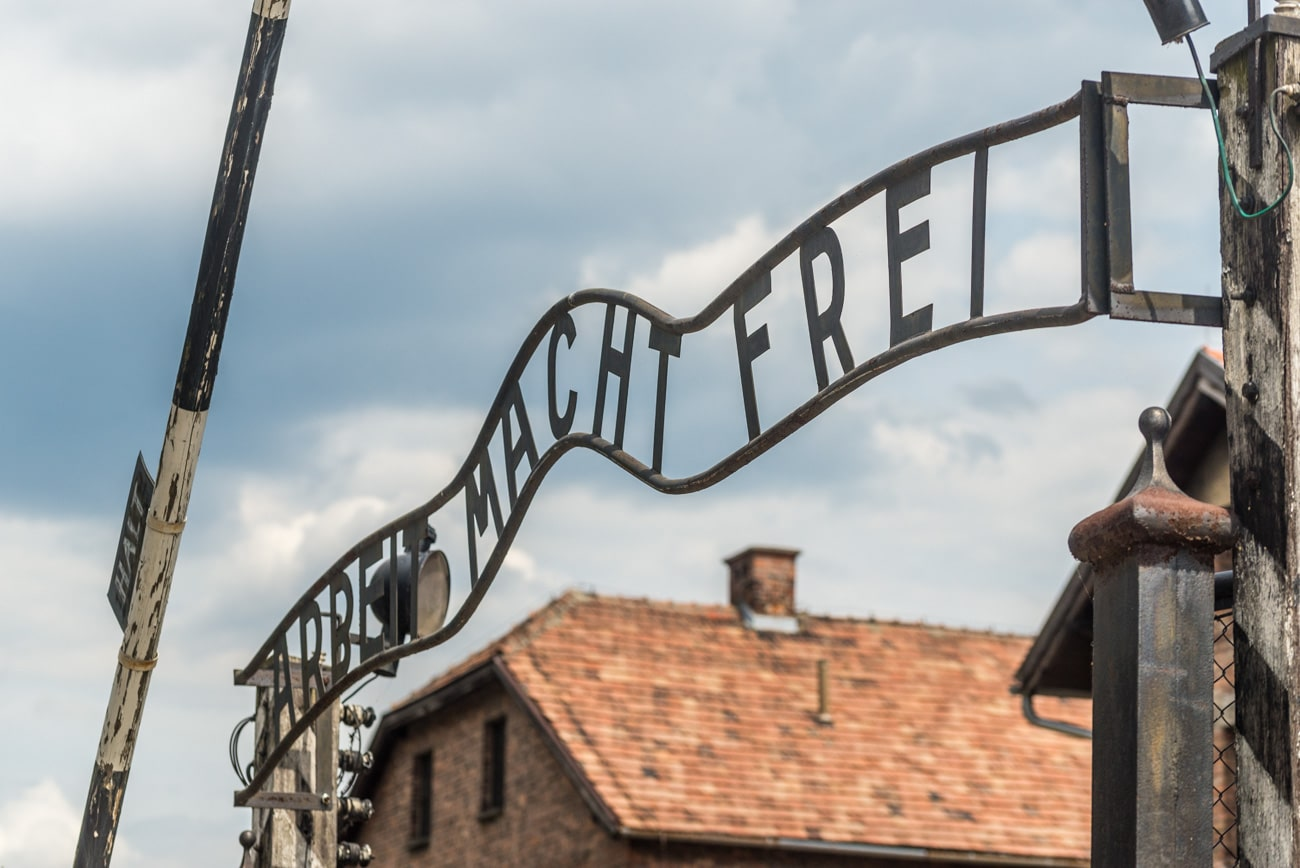 """Arbeit Macht Frei"" Sign on Entrance to Auschwitz Concentration Camp."