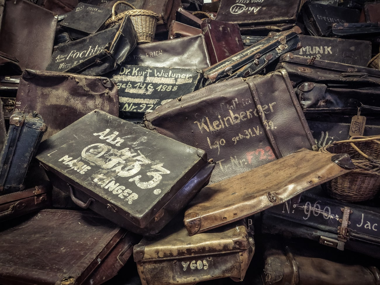 Confiscated suitcases from Jews in Auschwitz