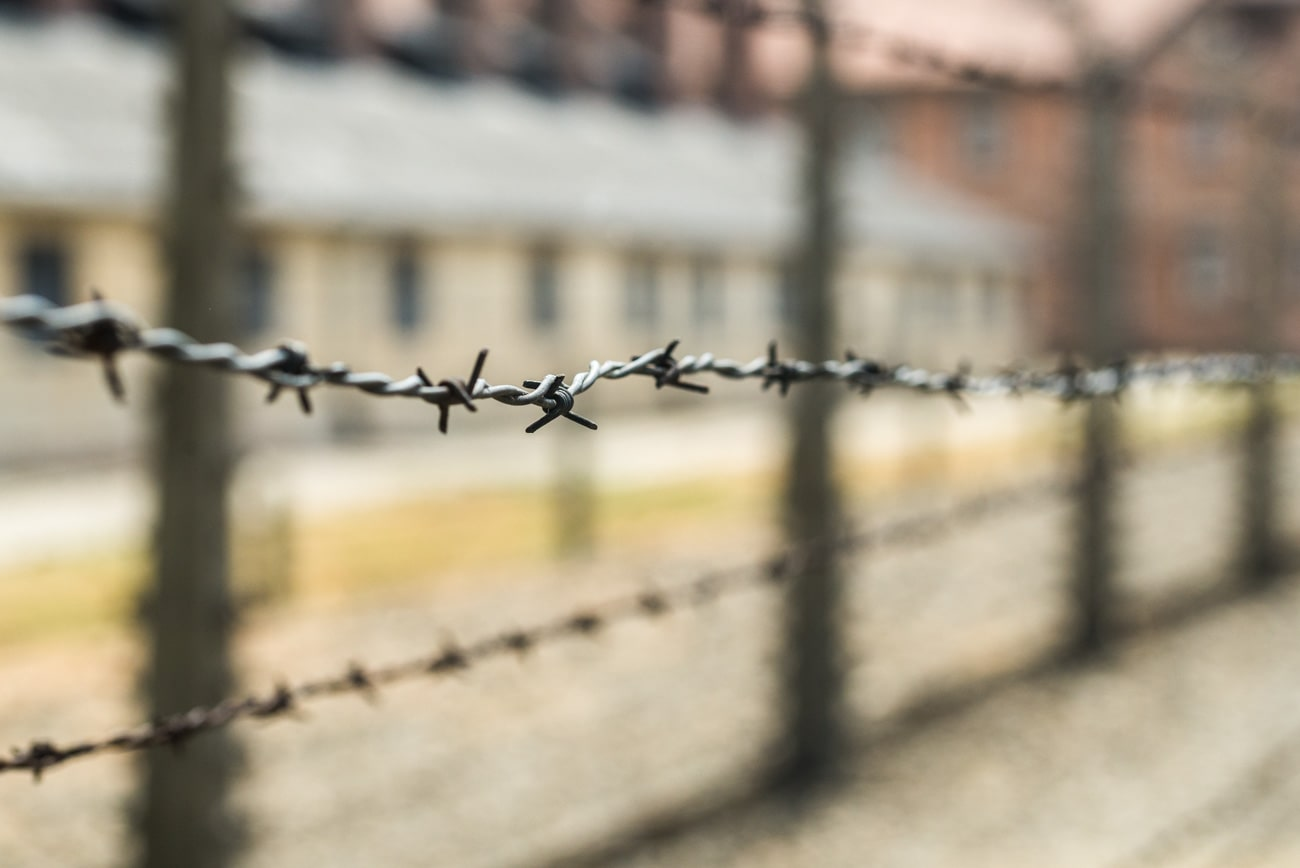 Electric fence in Auschwitz.