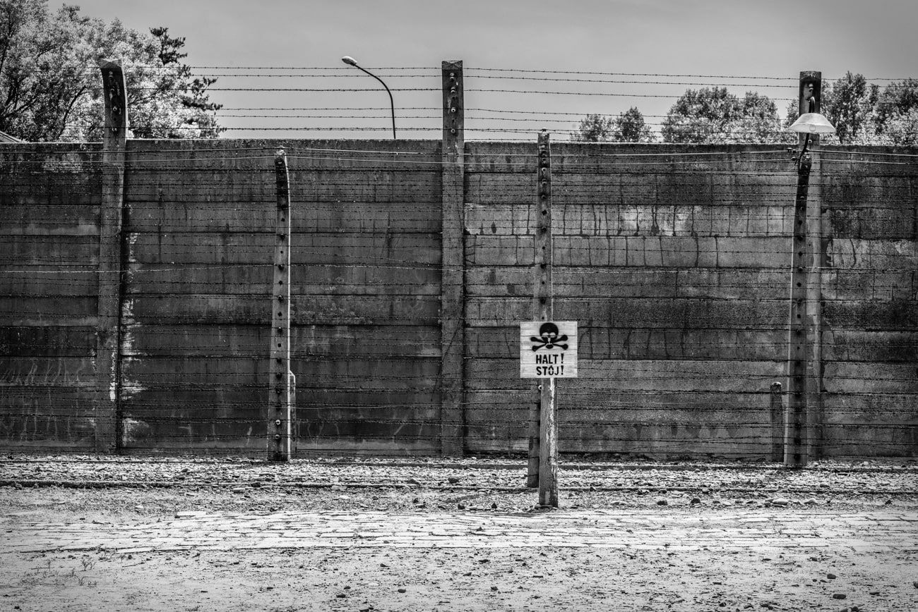 Halt! Stój! An electric fence warning in Auschwitz