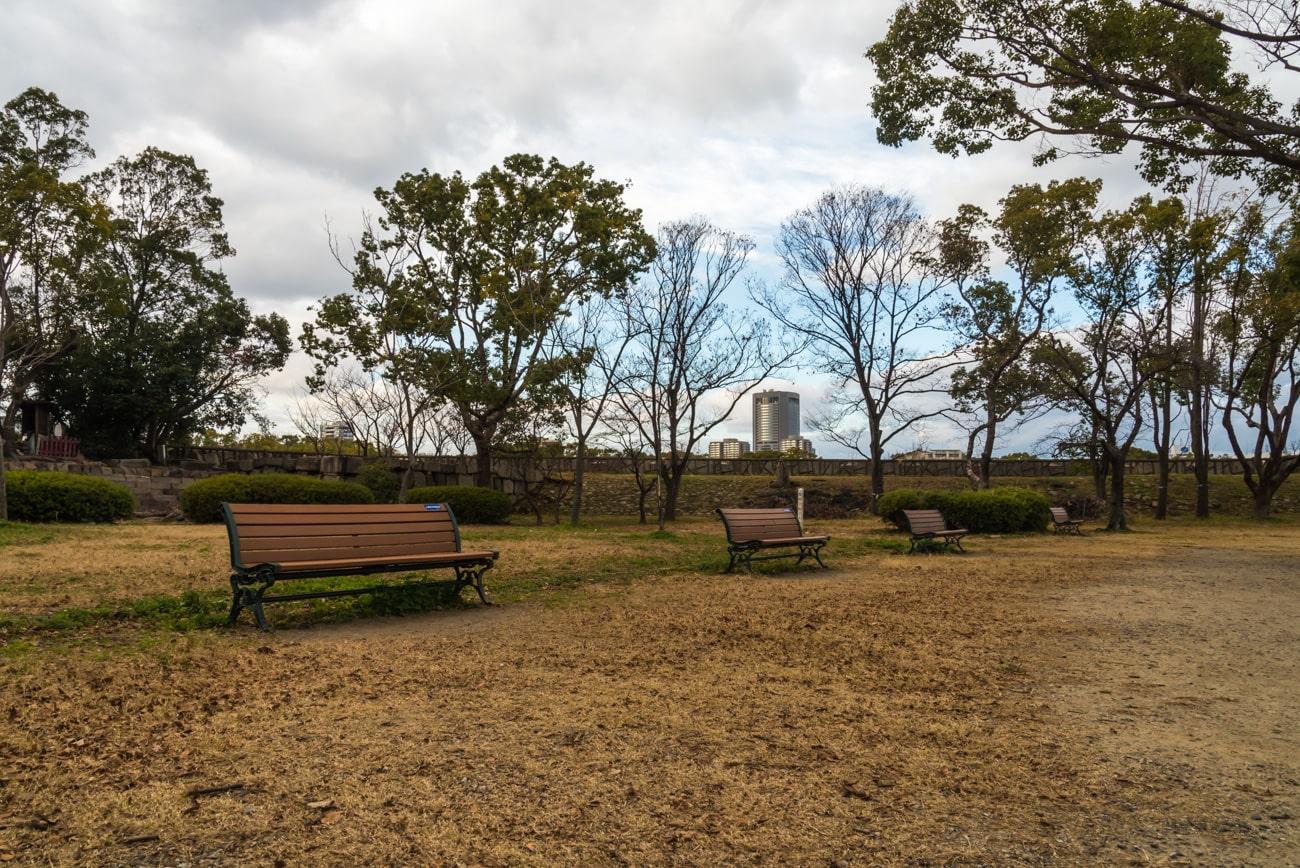 Benches Behind Osaka Castle