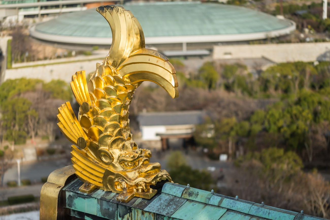 Gold Japanese Fish Statue on Top of Osaka Castle