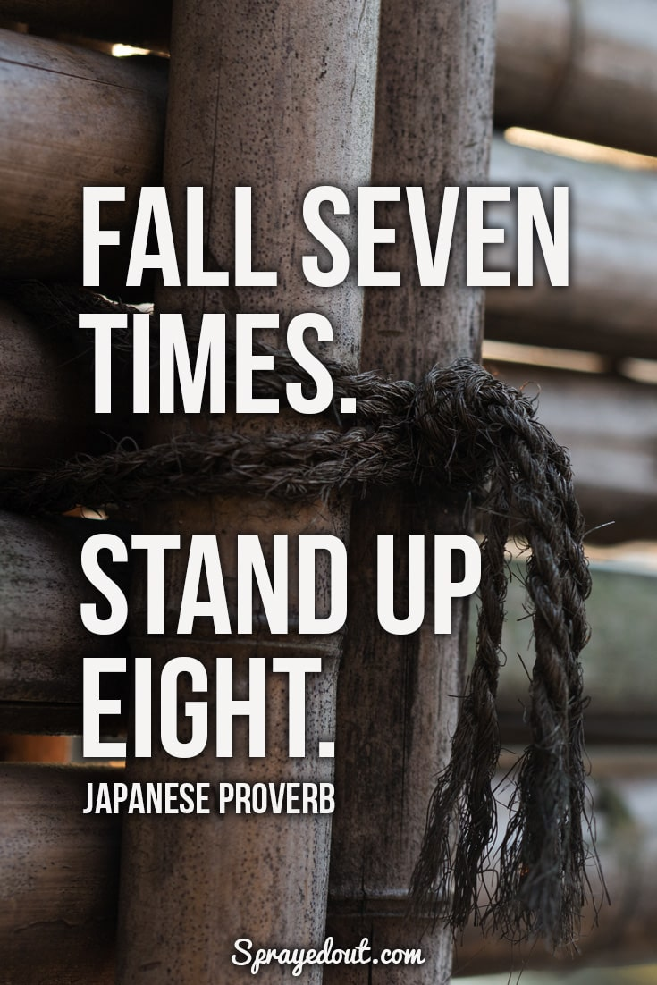 Fall Seven Times. Stand Up Eight. Motivational Japanese Proverb.
