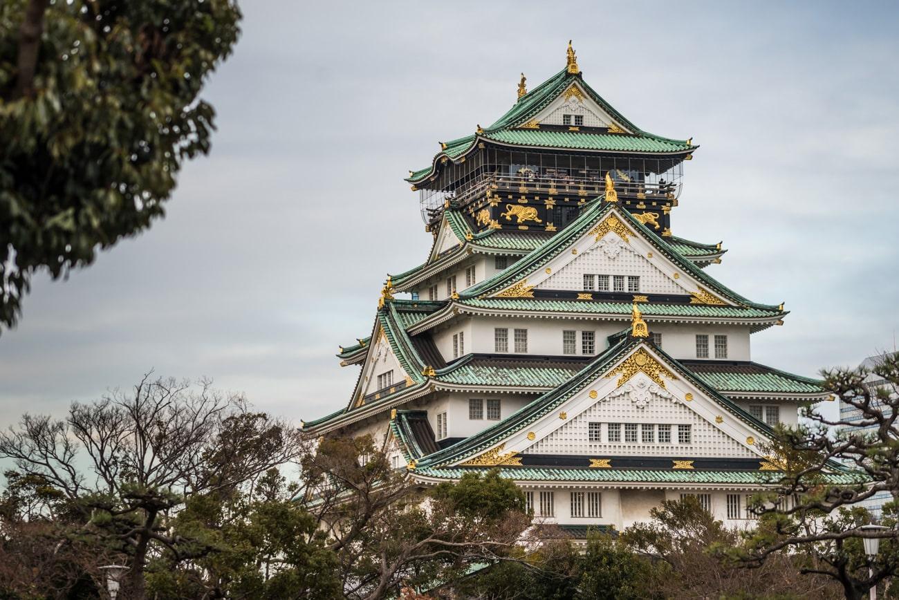 Osaka Castle seen from Japanese Garden, closeup view.
