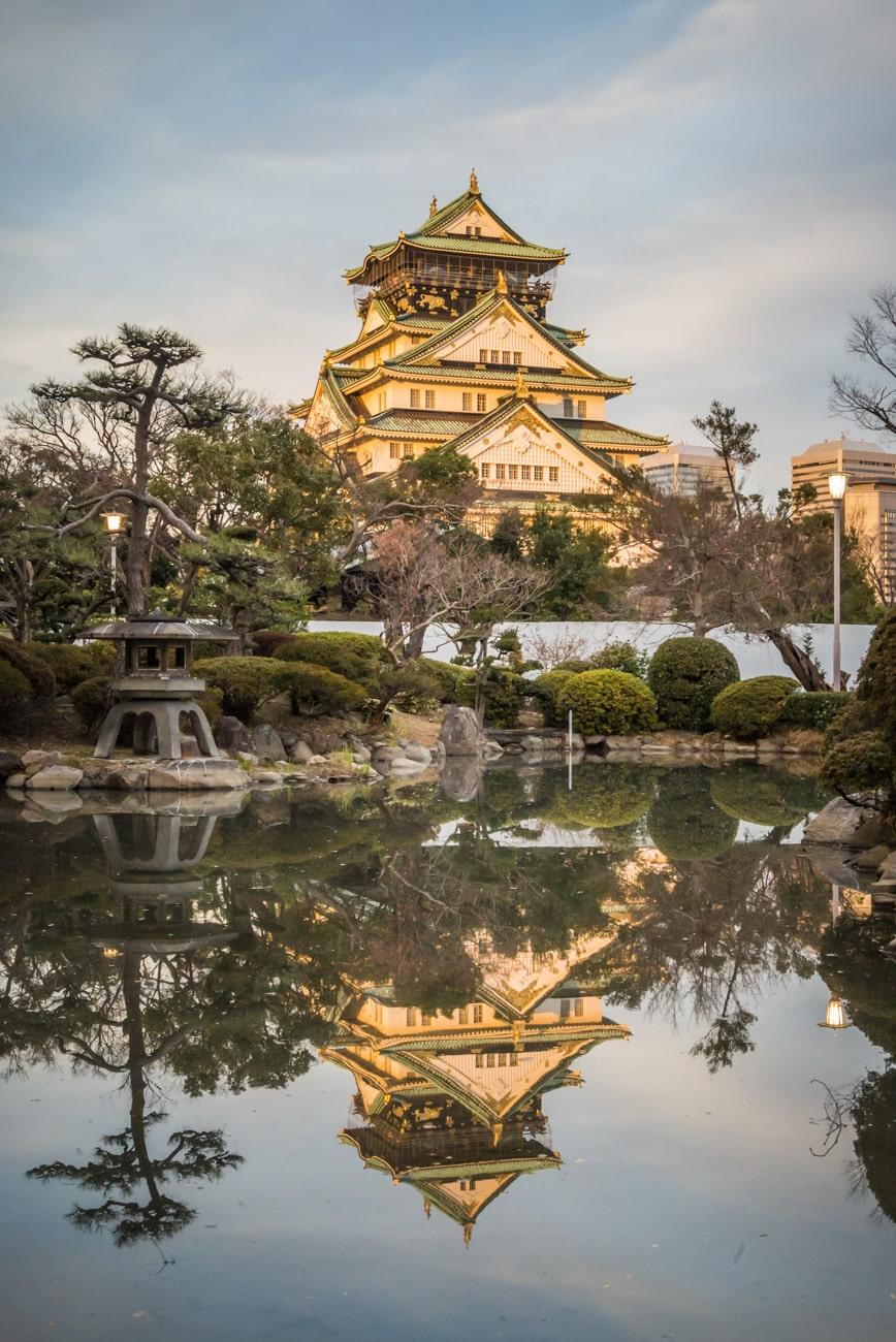 Sunset in Osaka Castle from Japanese Garden.