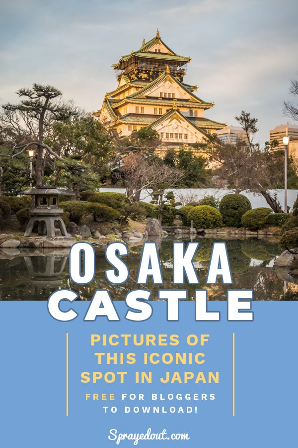 Picture of Osaka Castle at sunset.
