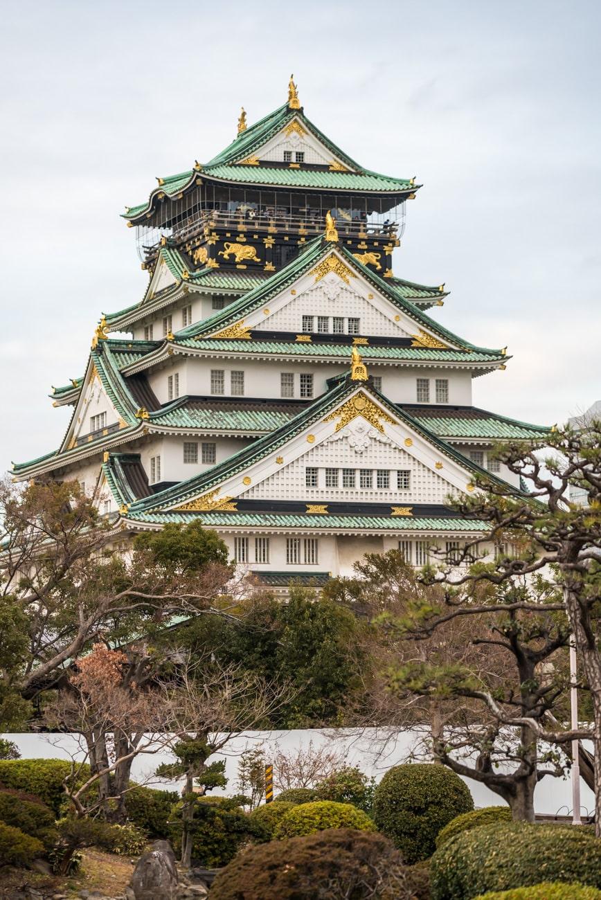 Osaka Castle Closeup Vertical View from Japanese Garden