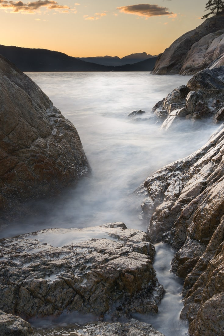 Pacific Ocean Landscape: Water Hitting the Rocks in West Vancouver Lighthouse Park