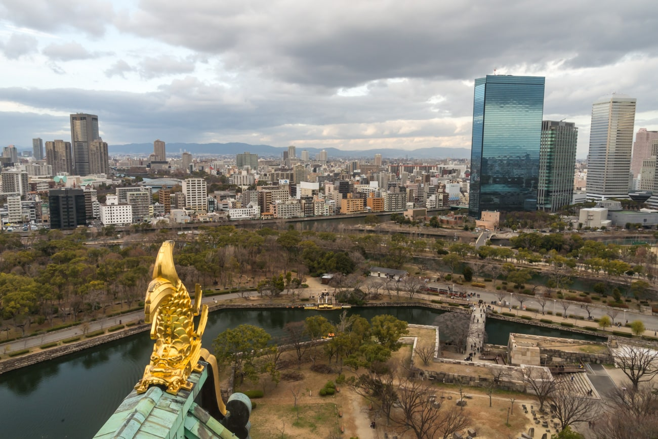 Panoramic View from Osaka Castle Observation Deck, on the right Crystal Tower and OBP Panasonic Tower.