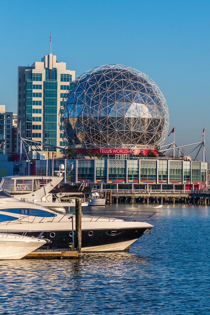 Beautiful Yachts & Telus World of Science in False Creek, Vancouver, BC, Canada.