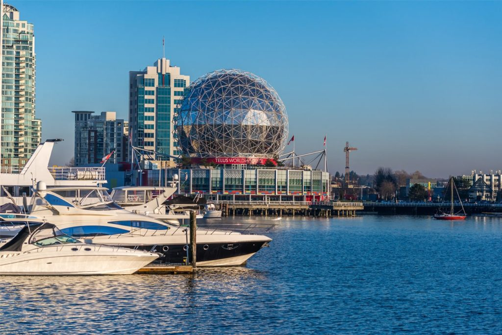 Yachts & Telus World of Science in False Creek, Vancouver, BC, Canada