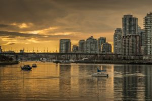 Yaletown & Vancouver Downtown Cityscape at Sunset. British Columbia, Canada