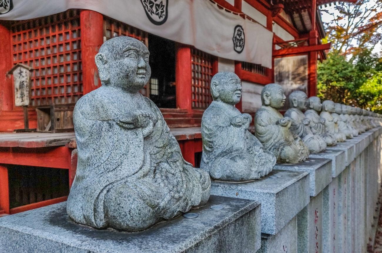 88 statues of Buddha in front of Daishi-do Hall, Takao-san Yakuo-in Temple, Mt. Takao, Tokyo