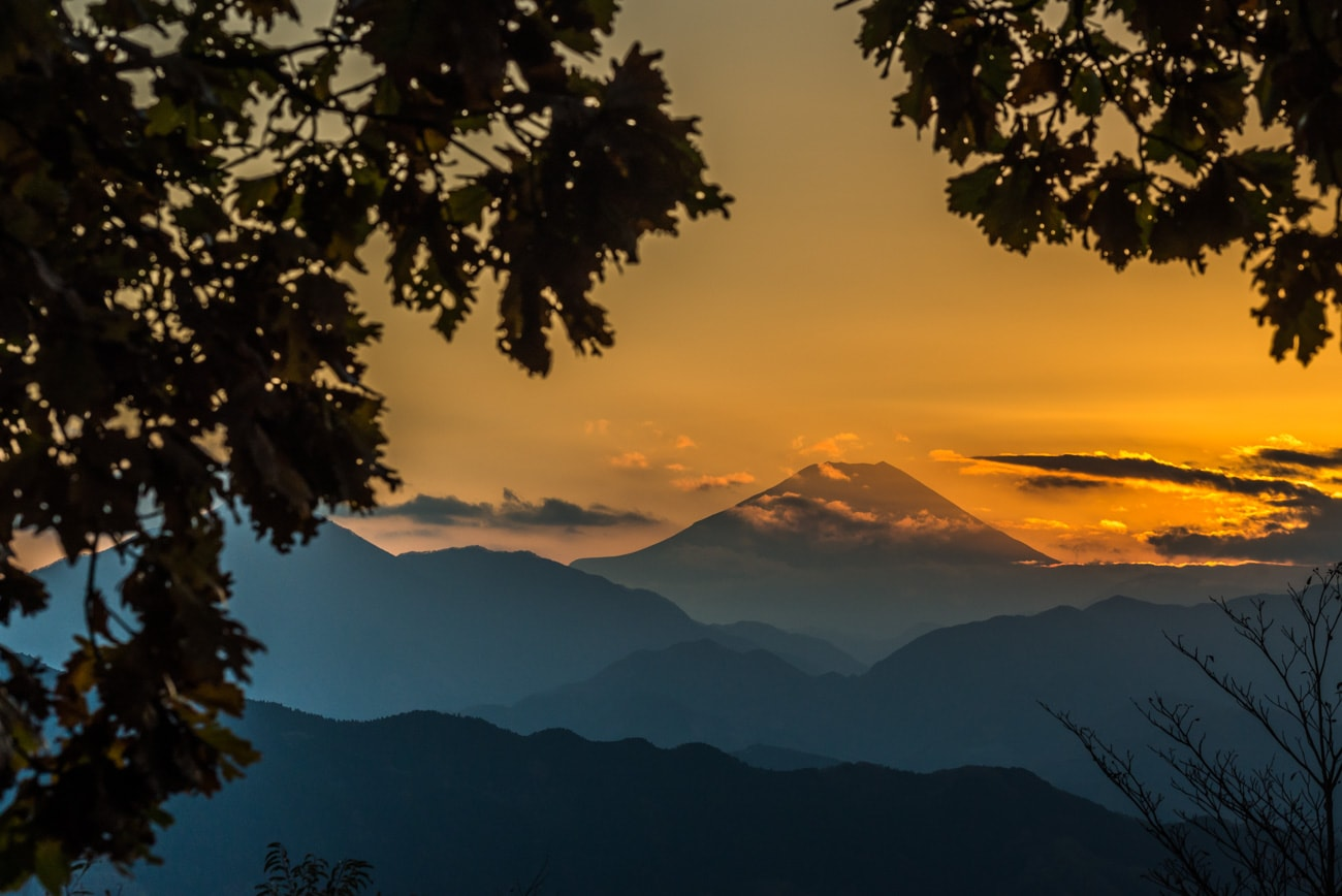 Mt. Fuji in Japan at Sunset from Mt. Takao mountain in Tokyo