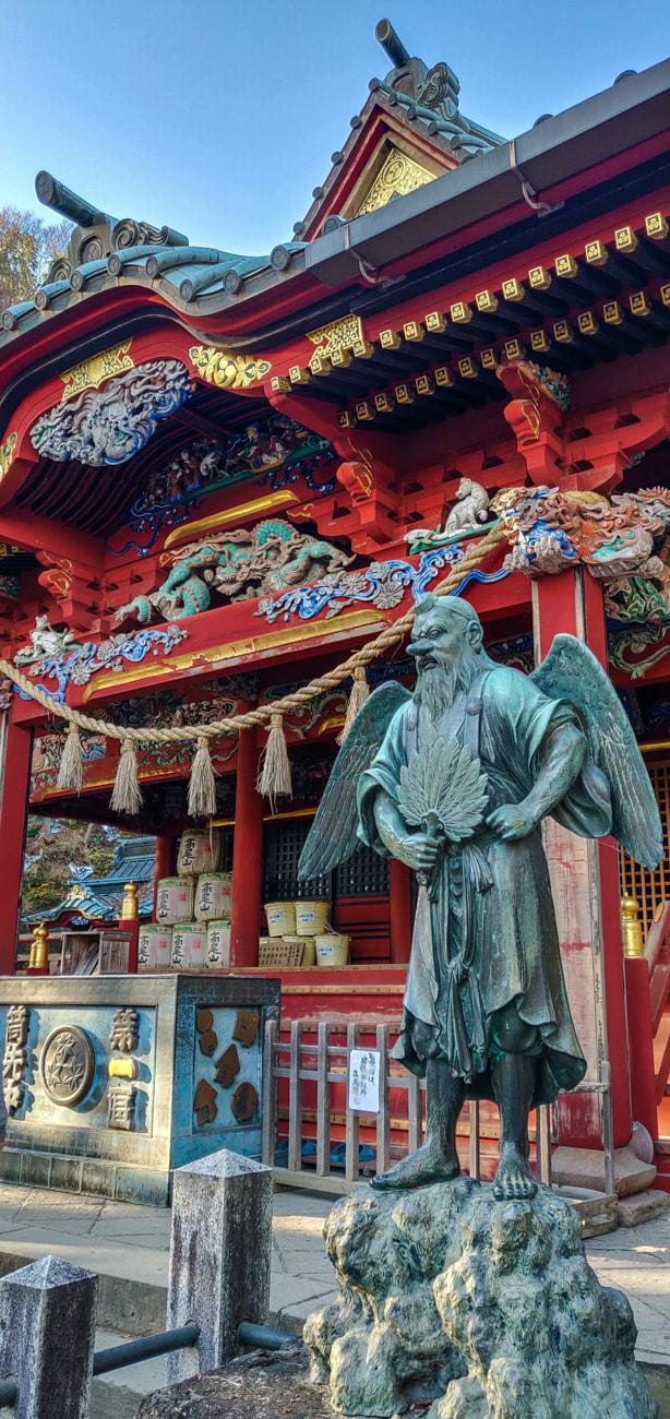 Tengu in front of Izuna Gongen-do Hall, Takao-san Yakuo-in Temple, Mt. Takao, Tokyo