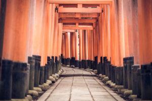 Fushimi Inari-Taisha's Torii Gates located in Kyoto, Japan.