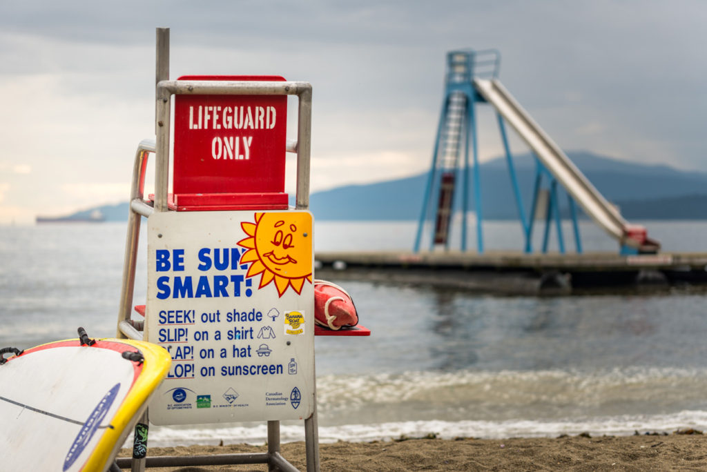 Lifeguard Tower & Waterslide on English Bay in Vancouver, Canada