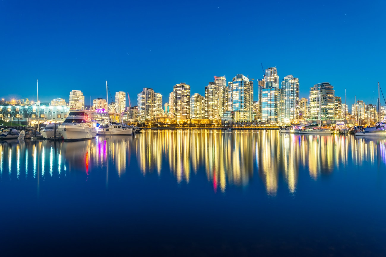 Vancouver Downtown at Night, BC, Canada Cityscape Picture