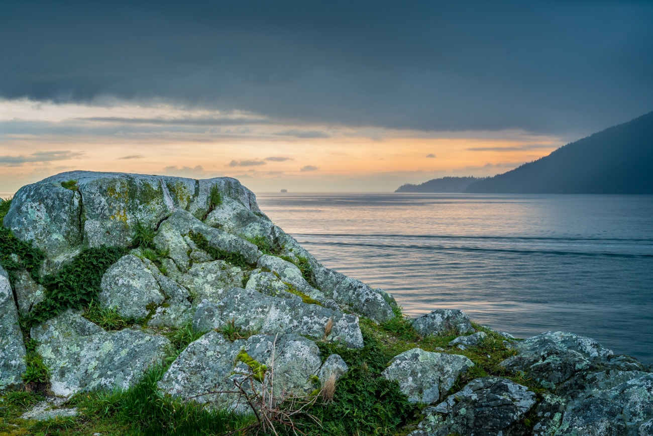 Cloudy sunset ocean landscape from Whytecliff Park.