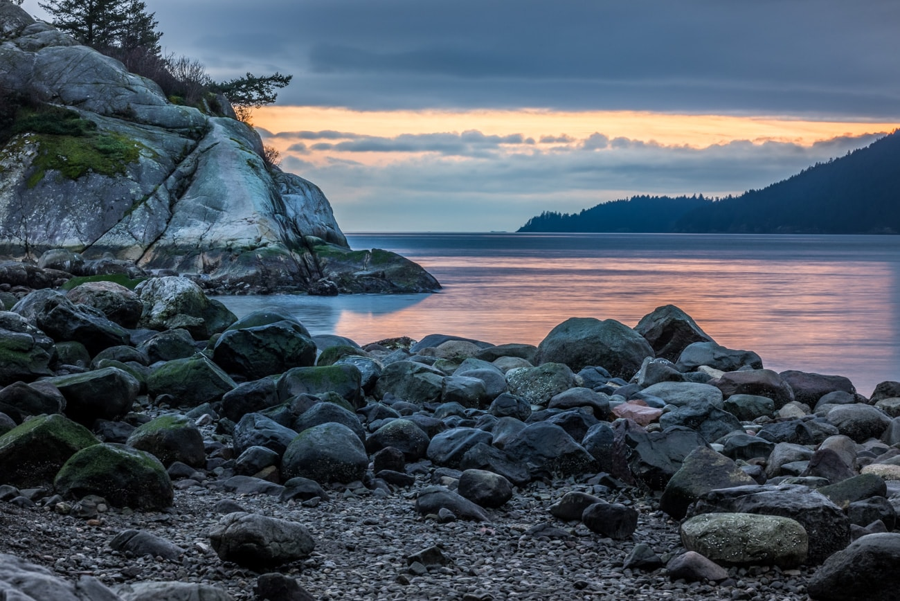 Whyte Islet in Whytecliff Park Sunset from the Beach in West Vancouver.