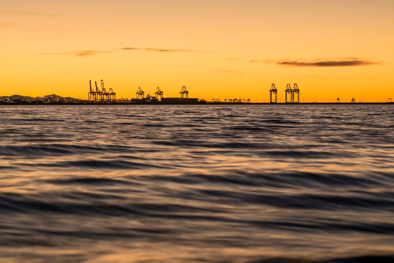 Ocean Landscape at Sunset from Tsawwassen Beach in BC, Canada
