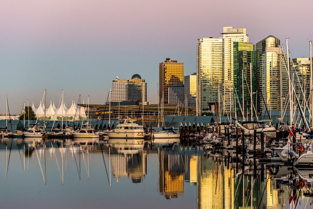 Vancouver Cityscape: Downtown at Sunset from Stanley Park.
